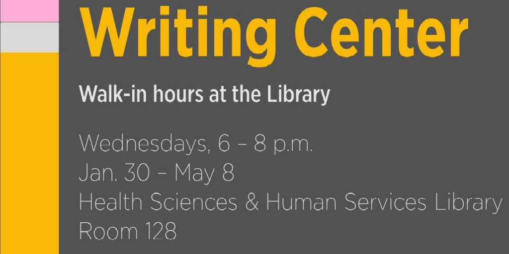 Information about Writing Center walk-in hours at the HS/HSL