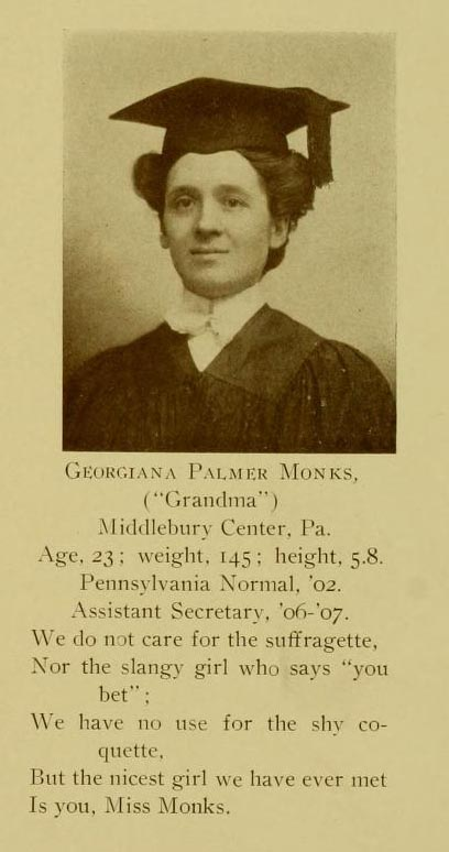 1923 Yearbook Photograph of Georgiana Palmer Monks