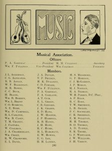 Members list of the 1906 University of Maryland Musical Association from the 1906 Yearbook