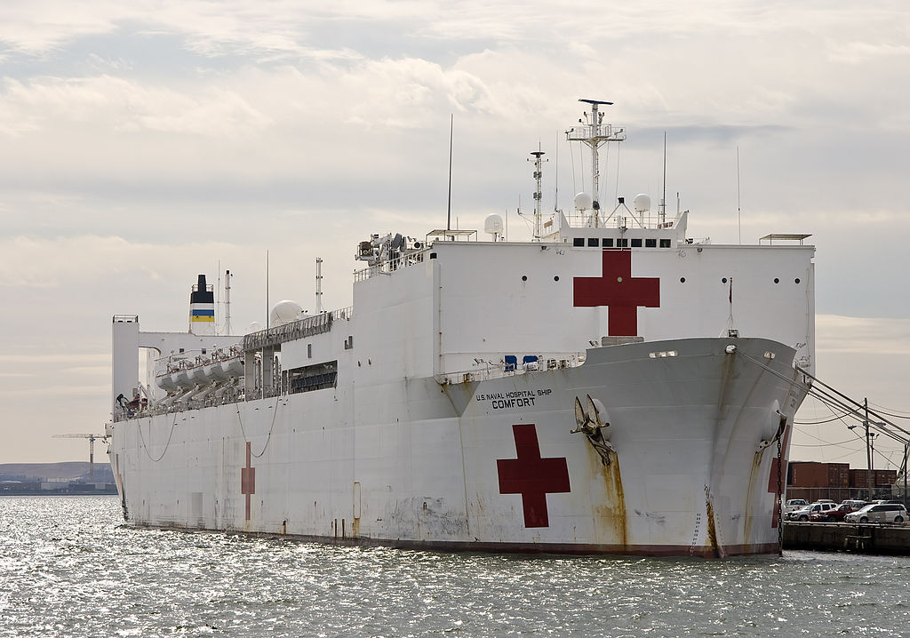 Photograph of the USNS Comfort hospital ship in Baltimore's Port.