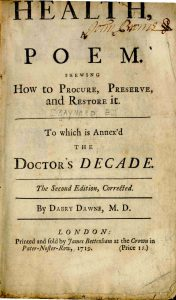 Photograph of the title page of Health: A Poem by Dr. Edward Baynard