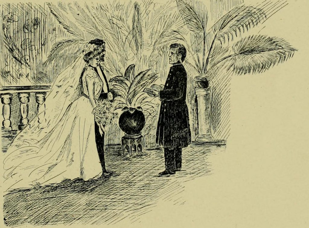 Sketch of a bride and groom in the midst of their marriage ceremony.