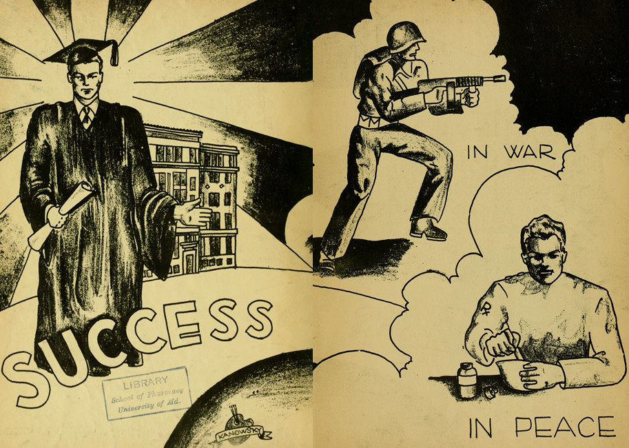 Drawing from the end sheets of the School of Pharmacy's Yearbook for 1944.  The drawing depicts a pharmacy graduate in cap and gown on the left and the right shows two directions for that pharmacist to go.  One in war, the other on the homefront.