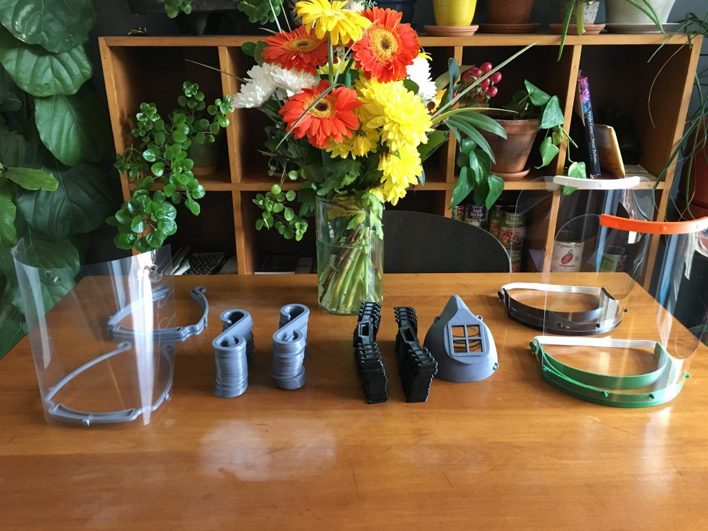 Various 3D printed personal protective equipment designs