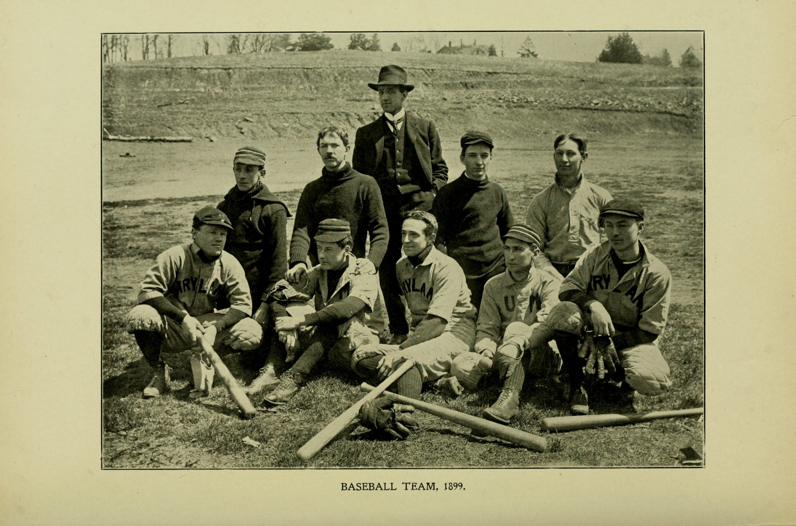 Photograph of 10 men from the 1899 baseball team.