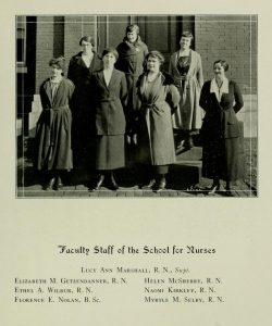 Black and white photograph of 8 women posed on stairs.