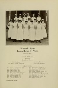 Black and white photograph of 18 nurses posed on stairs.