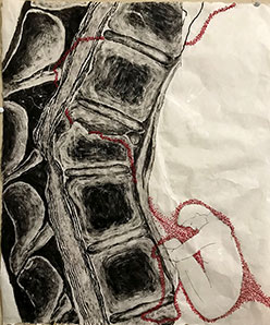 image of a spine with an inked figure with red embroidery, done on mulberry paper