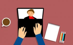 cartoon of laptop with online meeting