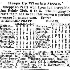 Newspaper statistics for Sheppard-Pratt Baeball Game