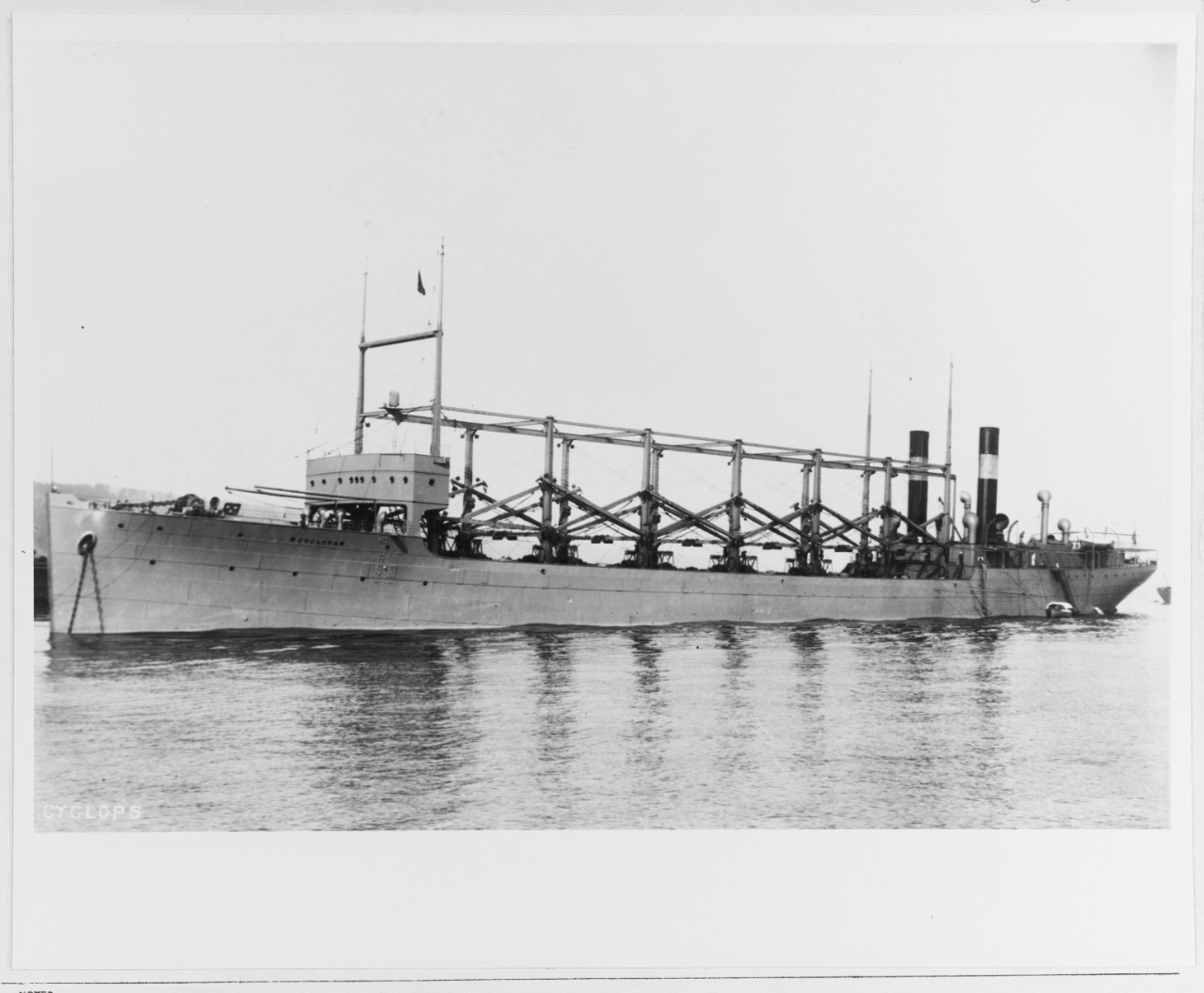 Black and White photograph of a ship on the water