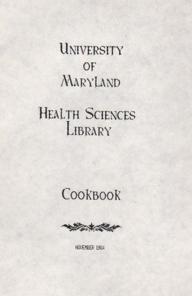 Title page for 1984 Health Sciences Library Cookbook