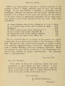 Description of the Burt J. Asper Memorial Fund