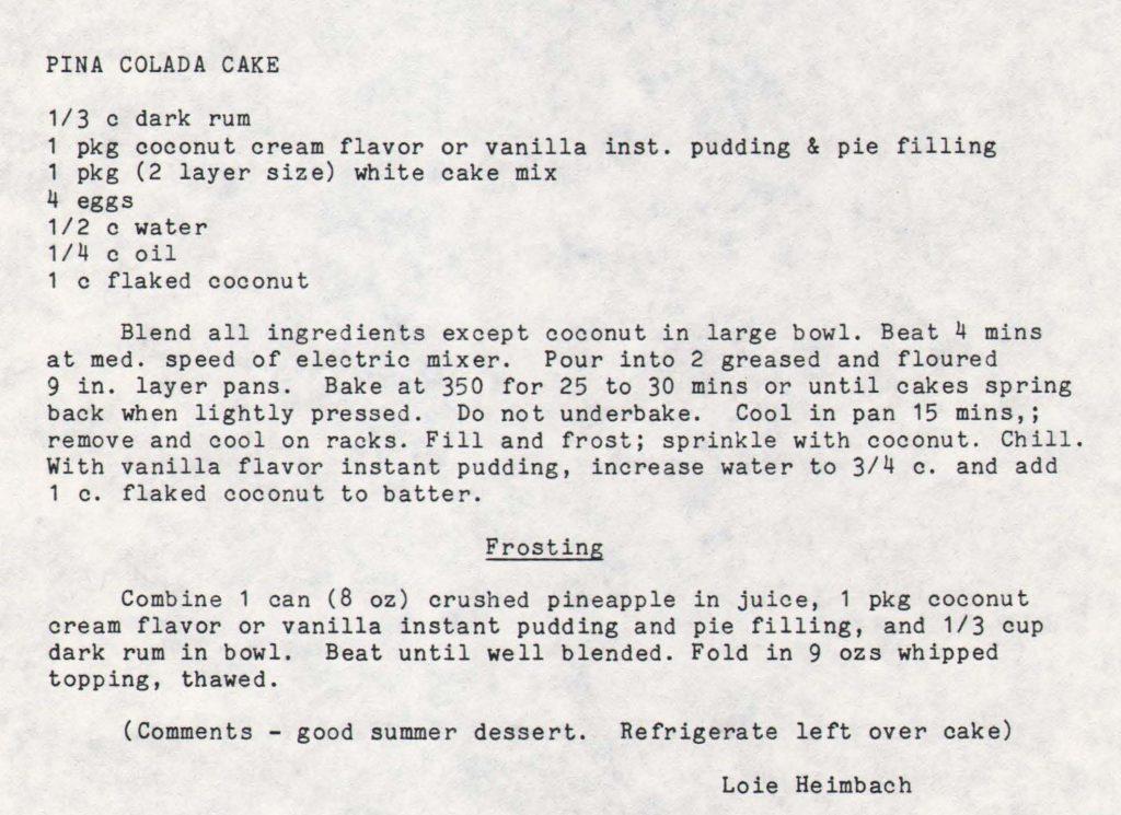 Recipe Card for Pina Colada Cake