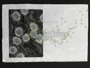Print of Coronavirus with embroidered spikes