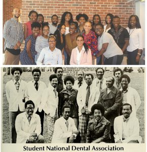 Collage of two images, top image is in color, a group of students from 2020, the bottom image is in black and white, a group of students from 1975