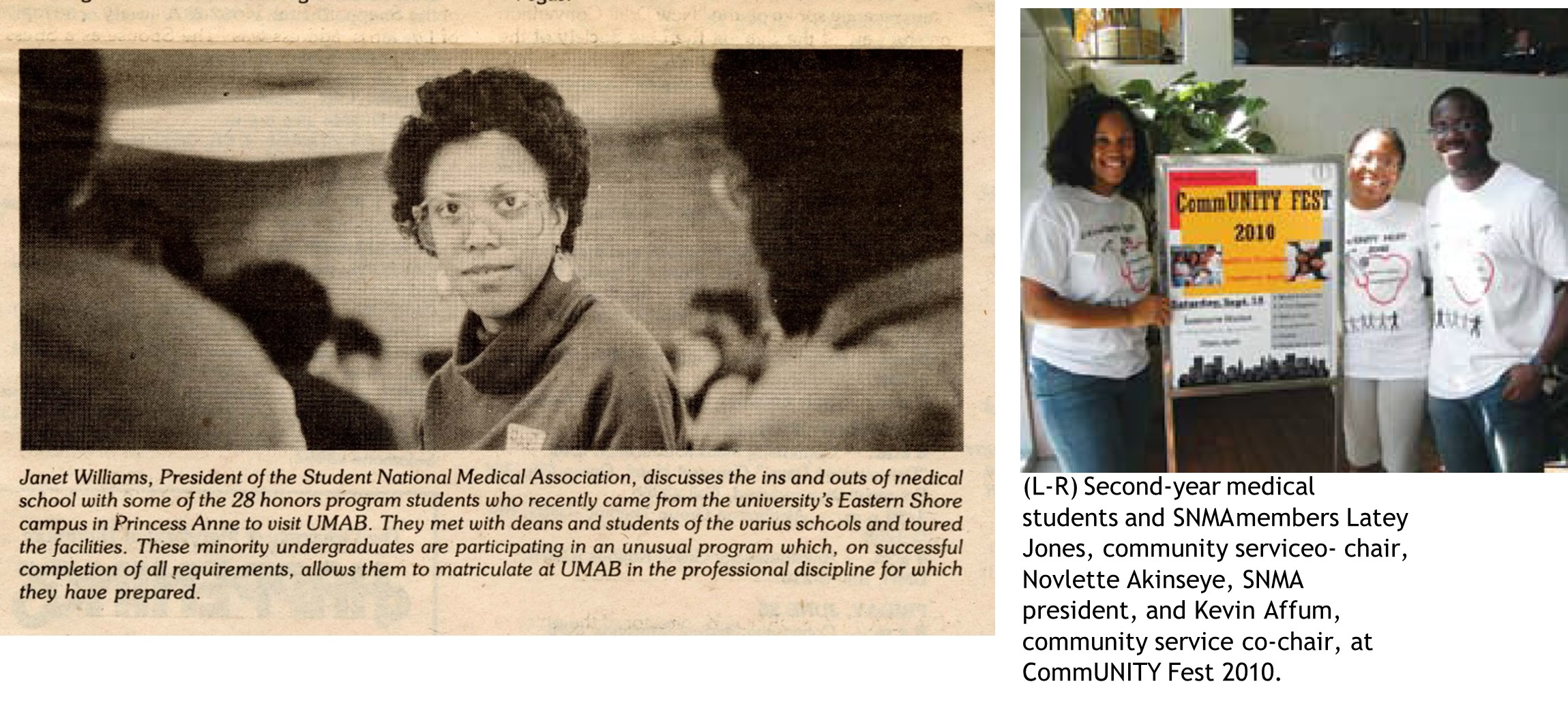 Two newspaper clippings, one on left in black and white, photograph of woman looking at camera; image on right in color, group of students standing around a poster
