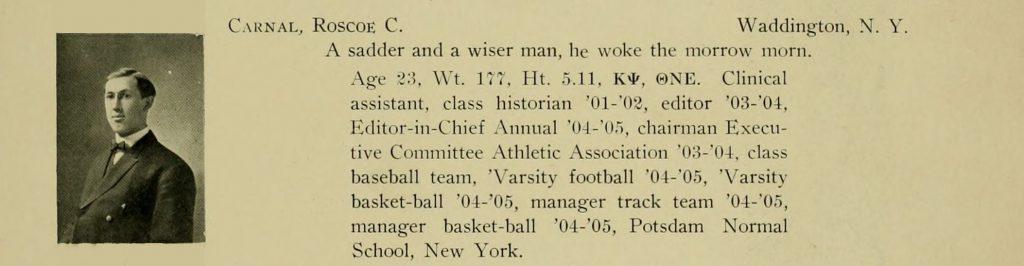 Yearbook headshot of Roscoe C. Carnal