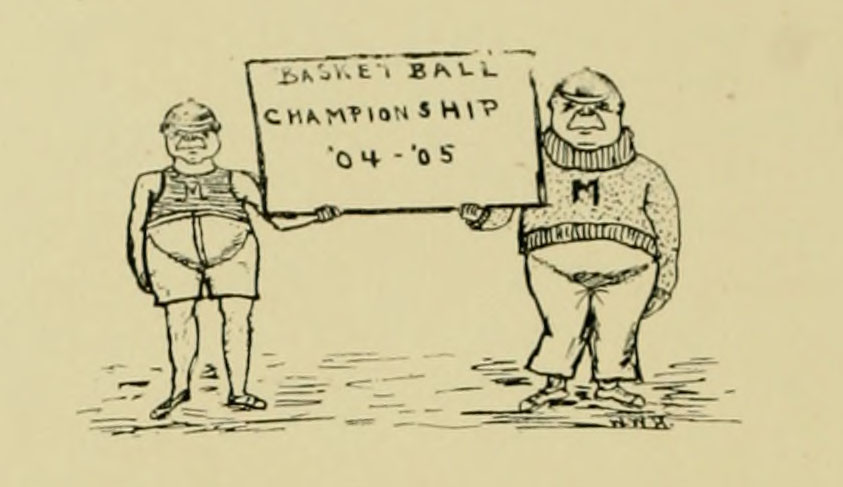 Handdrawn image of two men holding a sign that says Basket Ball Championship 04-05