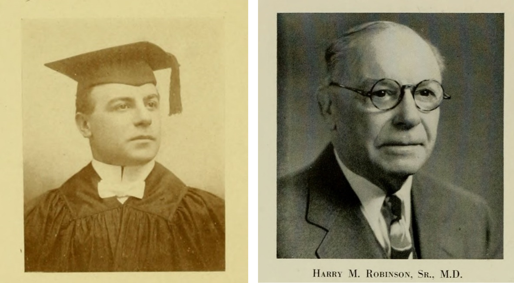 Two photographs, left photograph is a young man in a cap and gown, right photograph is an older man wearing a suit and tie and glasses.