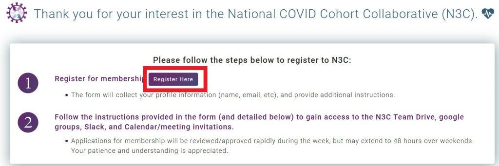 Screenshot of registration button