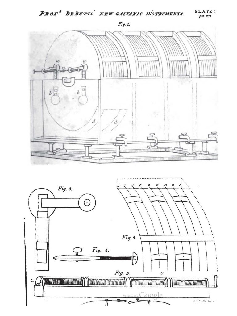 Black and white drawing of Prof. DeButts' New Galvanic Instruments