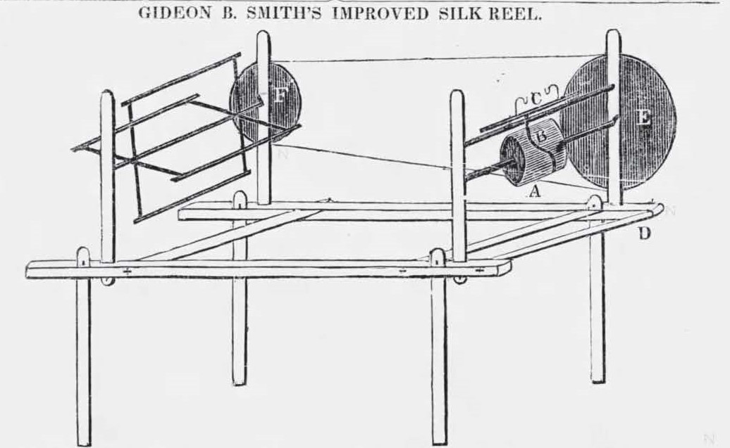Patent drawing with four legs and two spindels to produce silk