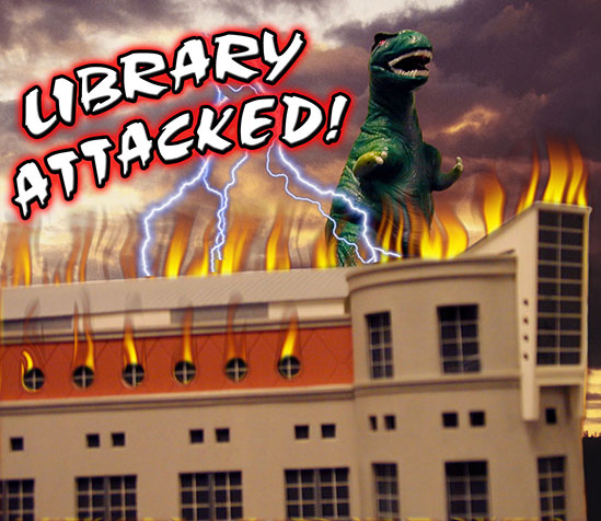Photo of Godzilla attacking the HSHSL