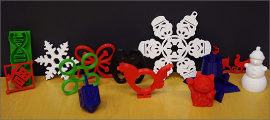 Photo of 3D printed holiday ornaments and other gift items.