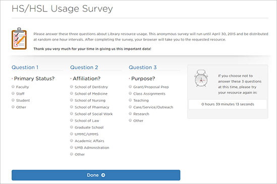 HS/HSL Usage Survey