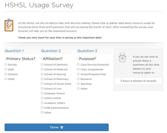 HSHSL Survey Screenshot